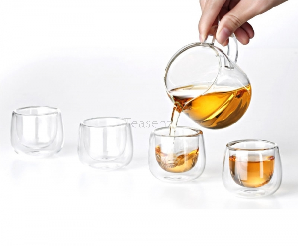 Chinese Gongfu Theeservies with Glazen Theepot, Pitcher, Filter & 4 Glazen