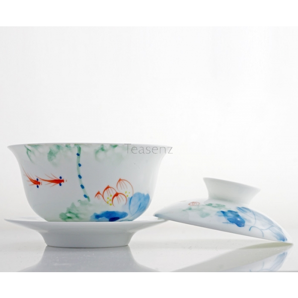 'Paradise of the Fish' Chinese Gaiwan Theeset