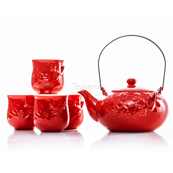"""Red Passion"" Bone China Thee set met 4 Koppen (625 ml)"